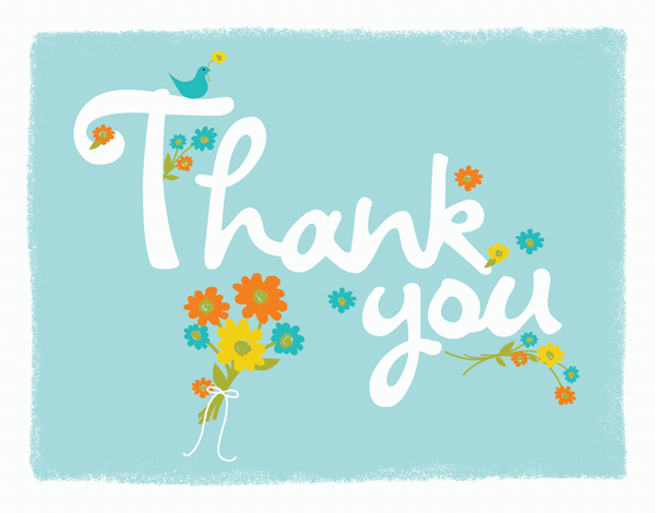 Floral Thank You Card on Aqua