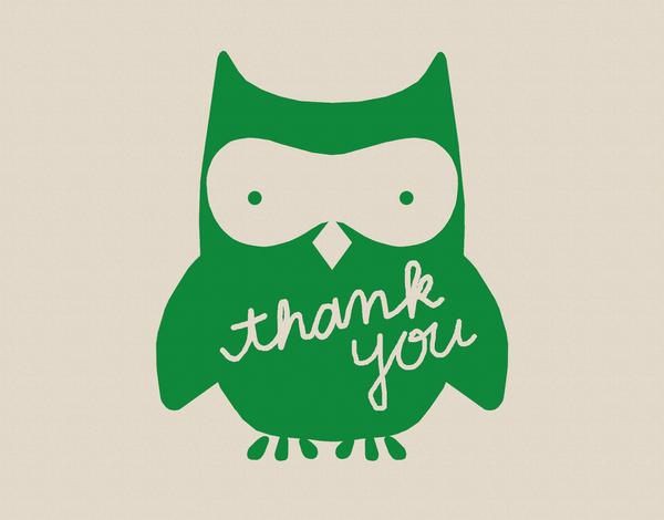 Green Owl Thank You Card