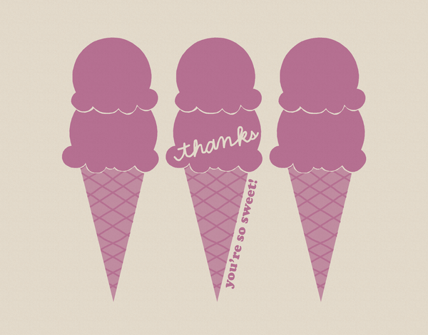 Purple Ice Cream Thank You Card