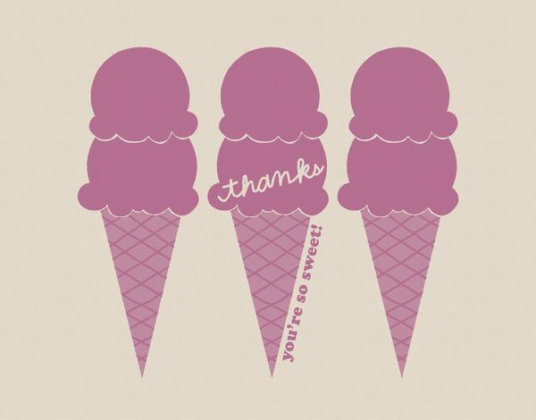 Purple Ice Cream Thank You Card