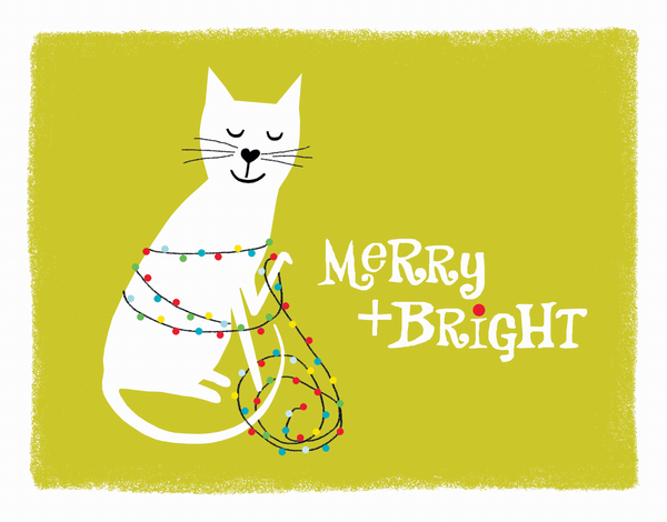 merry and bright holiday card with kitten