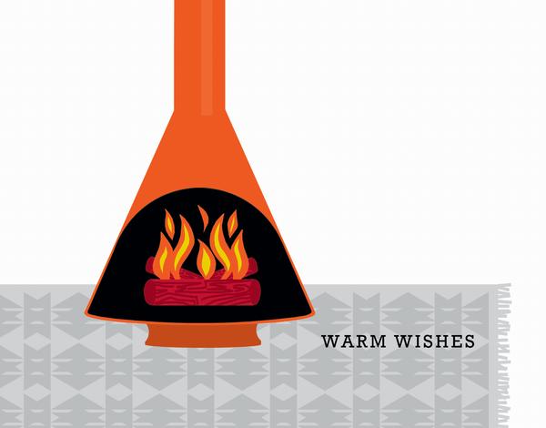 Modern Fireplace Holiday Card