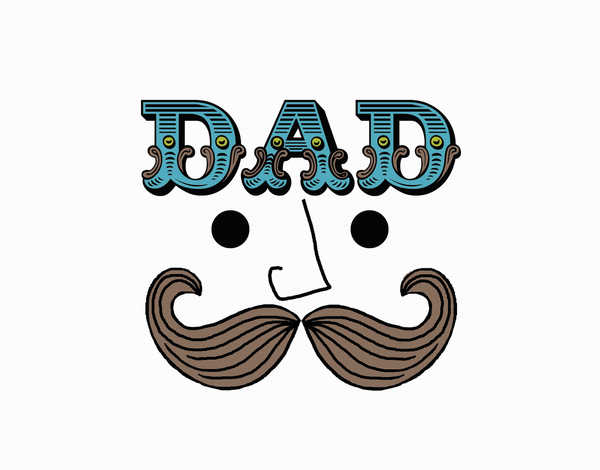 Quirky Mustache father's day card
