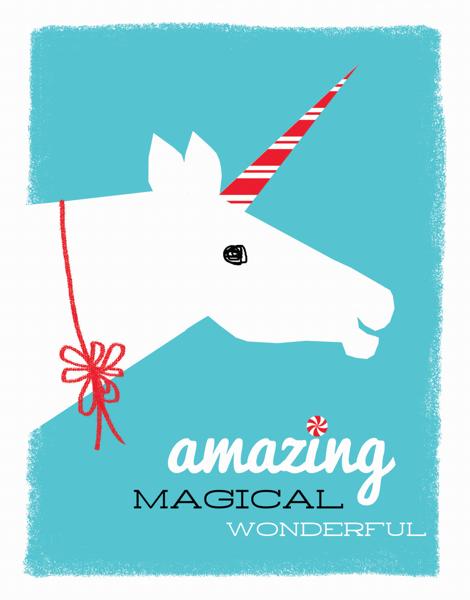 Retro Unicorn Holiday Card