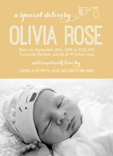 Personalized Yellow Stork Birth Announcement