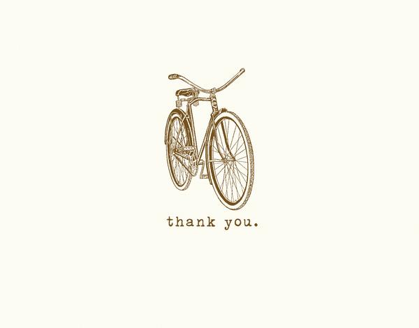 Minimal Vintage Bicycle Thank You Card