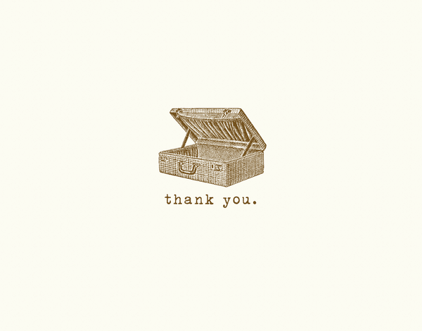 Vintage Open Suitcase Thank You Card