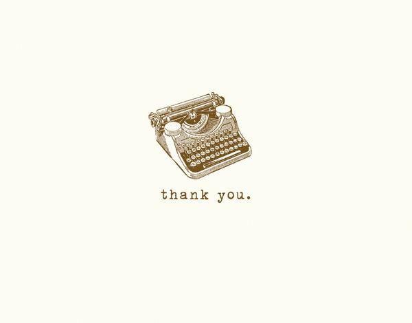 Vintage Typewriter Thank You Card