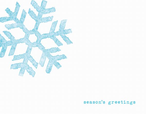 minimalistic seasons greetings card with blue snowflake