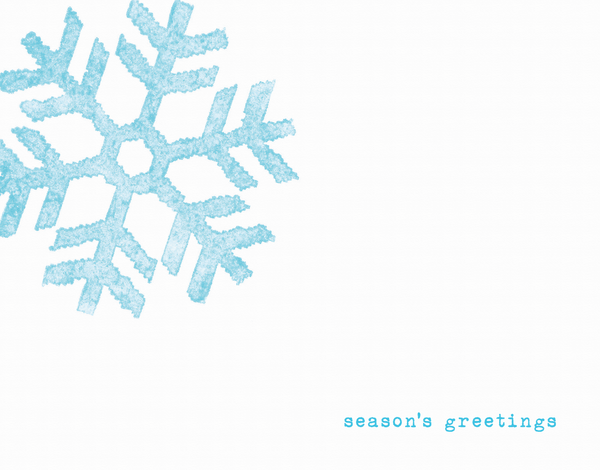 minimalistic seasons greetings card with blue snowflake