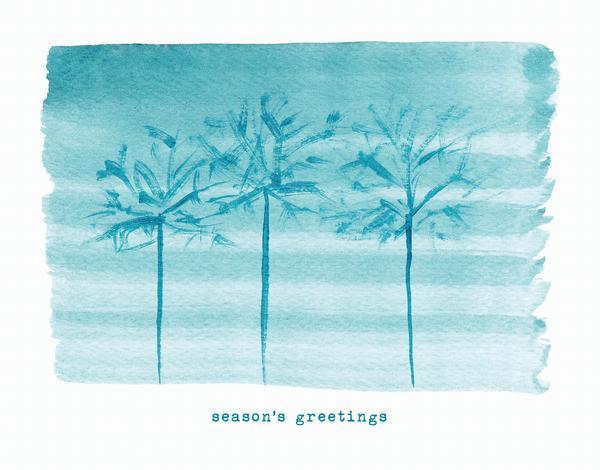 Watercolor Trees Holiday Card