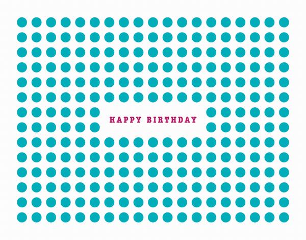 Aqua Dot Patterned Birthday Card
