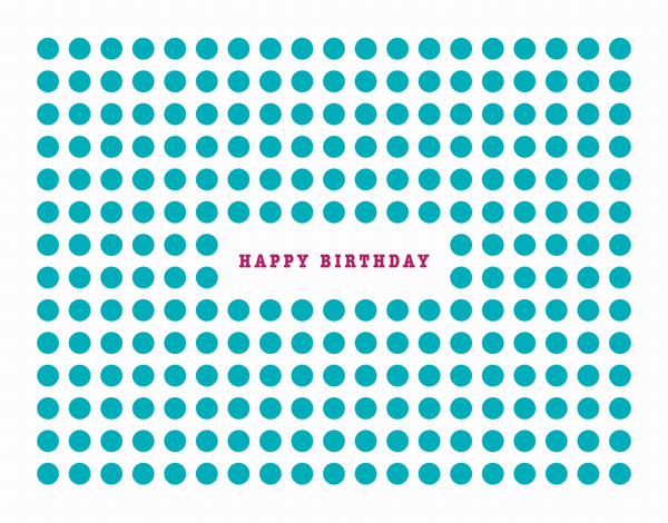 Aqua Dot Patterned Birthday Card