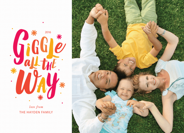 colorful hand lettered photo holiday card