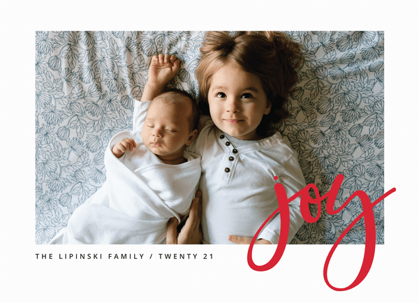 photo holiday card with simple red joy
