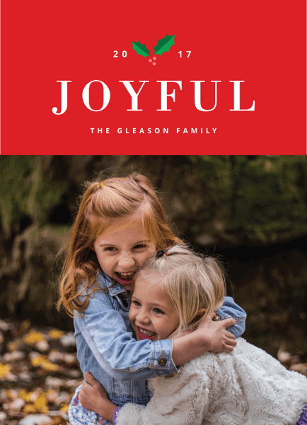 modern joyful holiday photo card