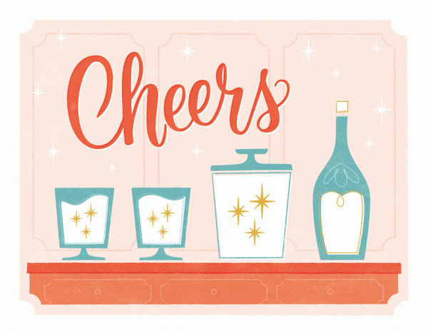 retro cheers holiday greeting card