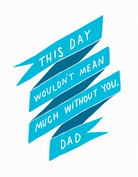 Pretty Blue Banner Dad Card