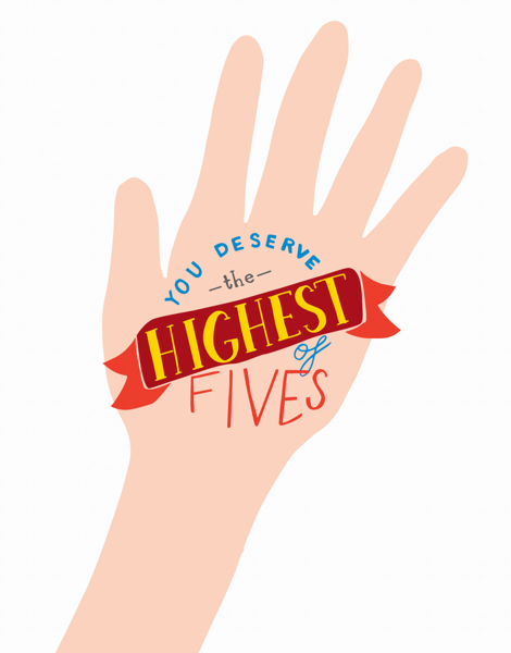 Cute High Five Congratulations Card