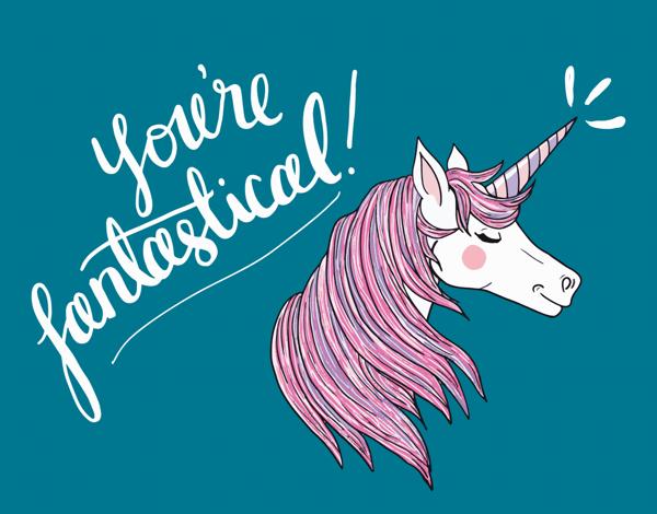 Whimsical Painted Unicorn Love Card