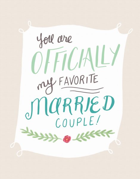 Pretty Banner Wedding Congrats Card
