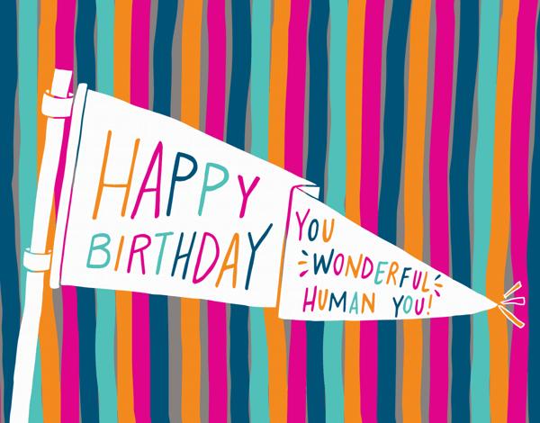 Banner HBD You Wonderful Human Birthday Card