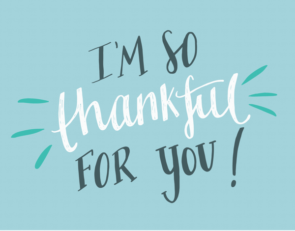 Hand Lettered I'm So Thankful Thank you Card