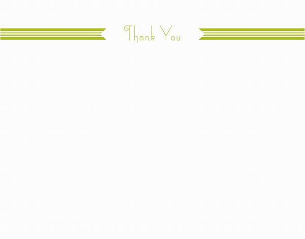 Green Ribbon Thank You Stationery