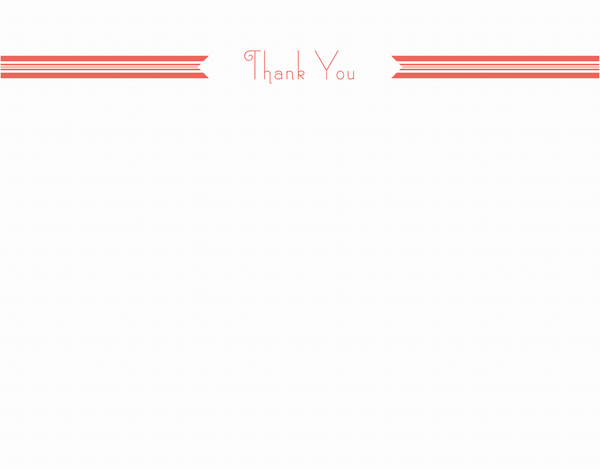 Red Ribbon Thank You Stationery
