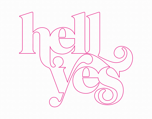 Retro Typographic Hell Yes Card
