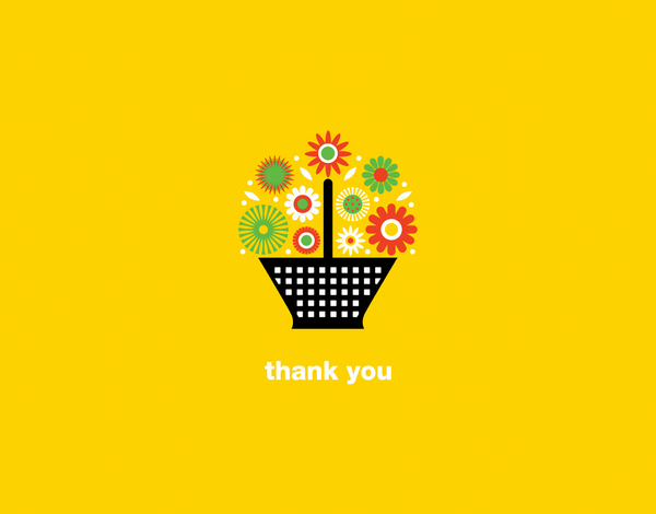 Basket of Flowers Thank You Card