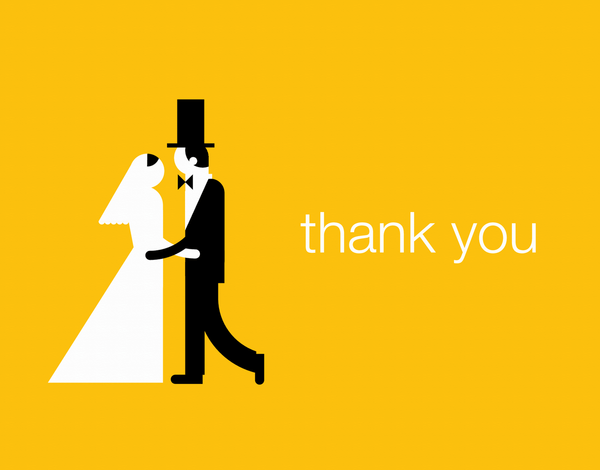 Graphic Newlyweds Thank You Card