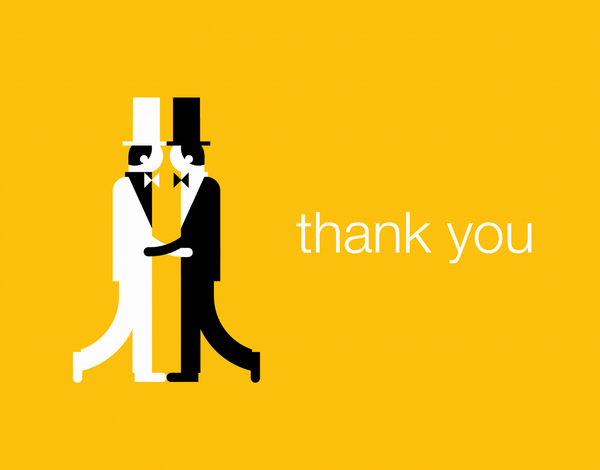 Gay Marriage Groom Thank You Card