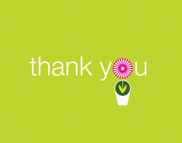 Simple Green Thank You Card with Flower