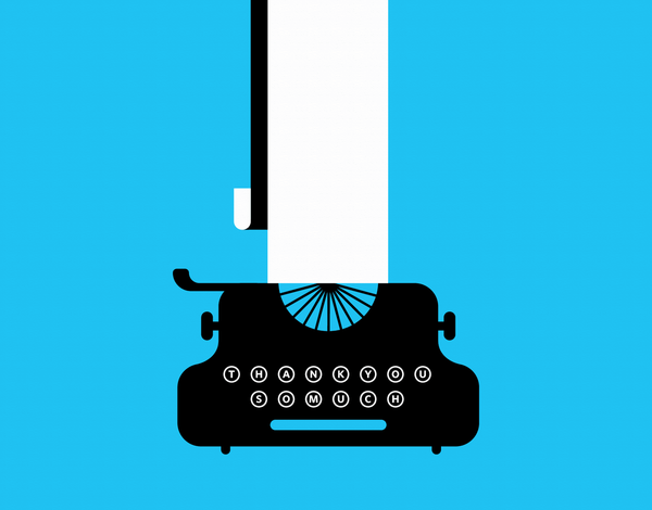 Blue Typewriter Thank You Card