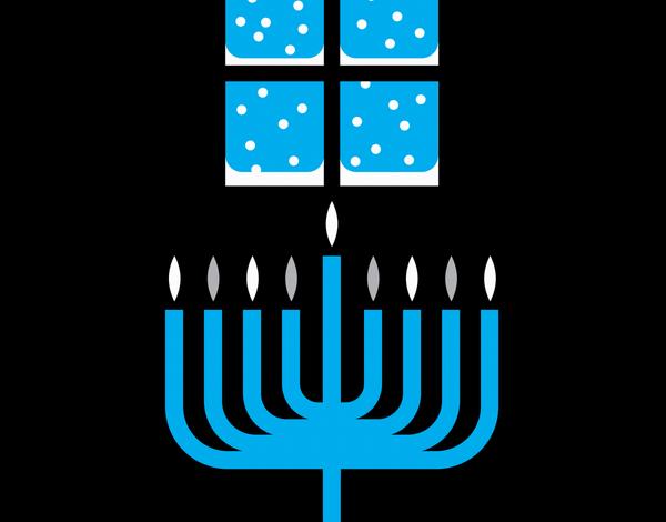 Modern Menorah Hanukkah Card