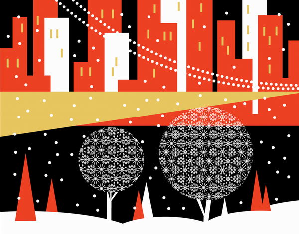 Winter City Scene Holiday Card