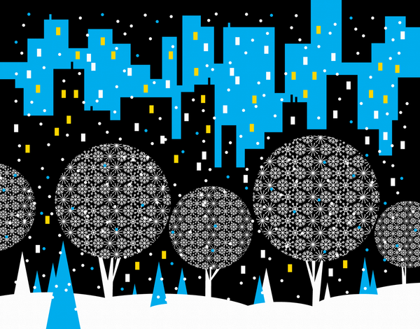 Snowy City Scape Holiday Stationery