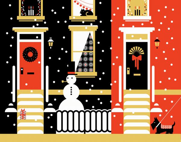 Corporate Winter City Scene Holiday card