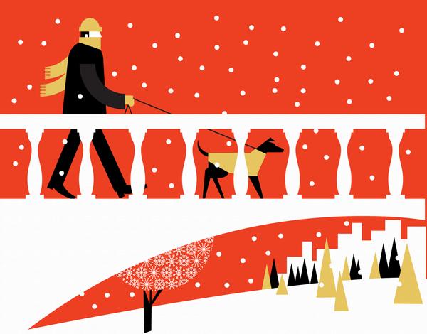 Winter Dog Walk Holiday Stationery