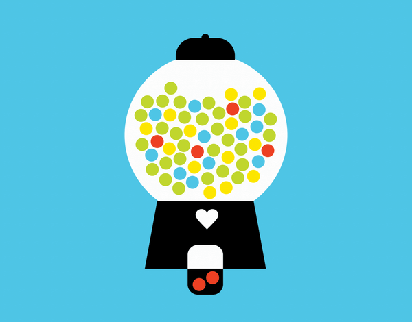 Colorful Gumball Machine Love Card