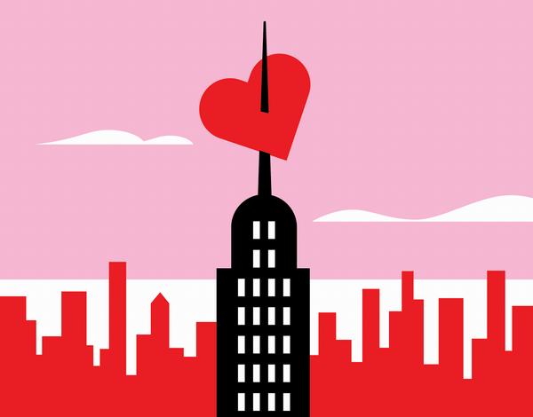 Pink City Valentine's Card