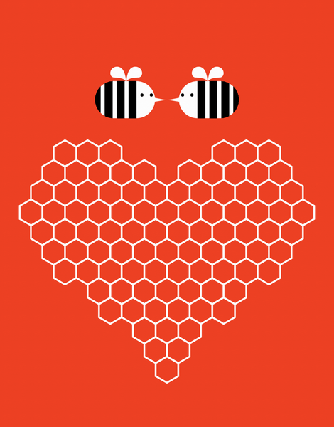 Bumblebee Honeycomb Heart Card