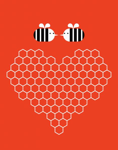 Bumblebee Honeycomb Heart Card