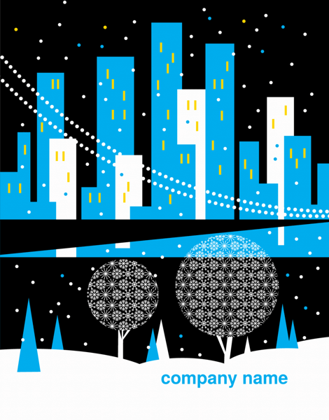 Snowy City Scape Corporate Holiday Card
