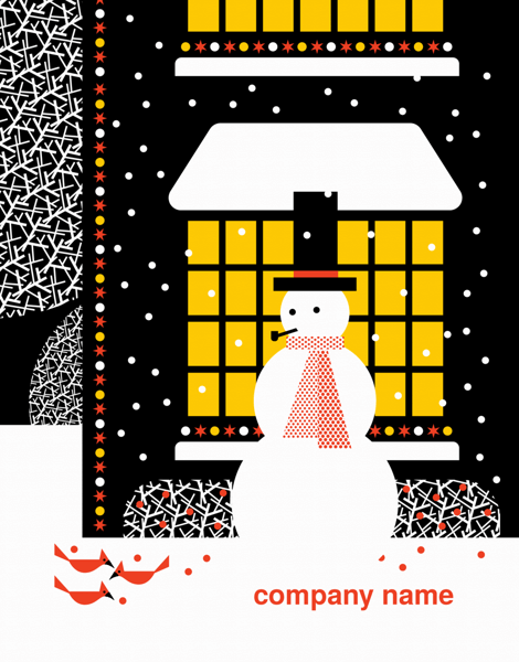 Graphic Snowman Company Holiday Card