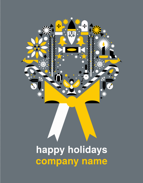 Custom Graphic Wreath Holiday Card