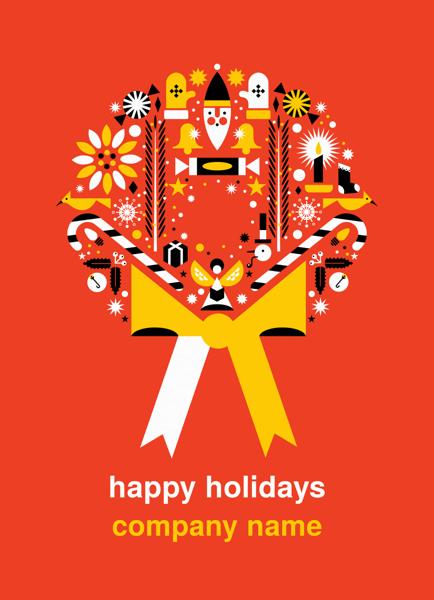 Red Wreath Christmas Card