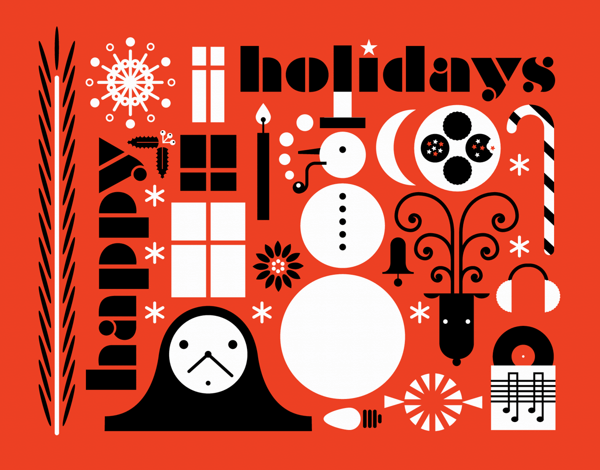red and black modern happy holidays card