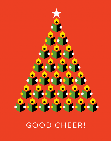 unique red and black good cheer greeting